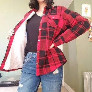 Plaid Long-sleeved top with fleece lining